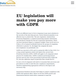 EU legislation will make you pay more with GDPR