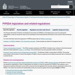 PIPEDA legislation and related regulations
