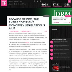 Because Of DRM, The Entire Copyright Monopoly Legislation Is A Lie
