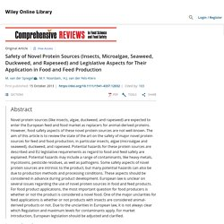 Safety of Novel Protein Sources (Insects, Microalgae, Seaweed, Duckweed, and Rapeseed) and Legislative Aspects for Their Application in Food and Feed Production - Spiegel - 2013 - Comprehensive Reviews in Food Science and Food Safety