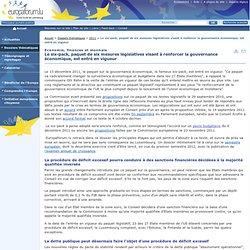 Le six-pack, paquet de six mesures législatives visant à renforcer la gouvernance économique, est entré en vigueur - Europaforum Luxembourg - 2011