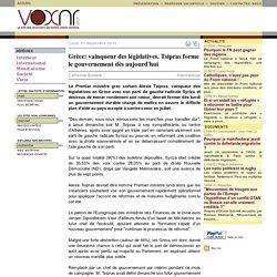 Grèce: vainqueur des législatives, Tsipras forme le gouvernement dès aujourd'hui voxnr.com