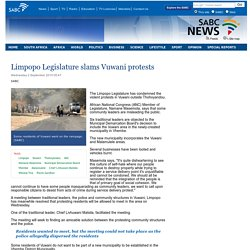 Limpopo Legislature slams Vuwani protests:Wednesday 2 September 2015