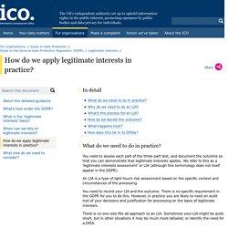 How do we apply legitimate interests in practice?