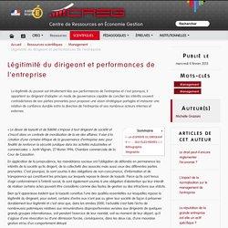 Légitimité du dirigeant et performances de l'entreprise
