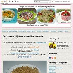 Poulet sauté, légumes et nouilles chinoises