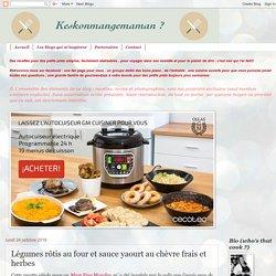 Légumes rôtis au four et sauce yaourt au chèvre frais et herbes