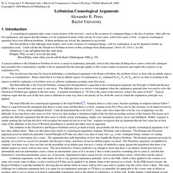 Leibnizian Cosmological Arguments