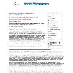Mem. Inst. Oswaldo Cruz vol.96 no.7 Rio de Janeiro Oct. 2001 Isolation of Leishmania infantum, Zymodeme MON-1 from Canine and Hu