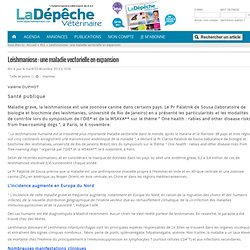 DEPECHE VETERINAIRE 03/12/13 Leishmaniose : une maladie vectorielle en expansion