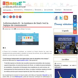 Lelivrescolaire.fr : la tendance de fond c'est la logique de communauté.