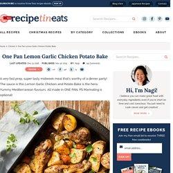 One Pan Lemon Garlic Chicken Potato Bake