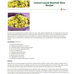 Lemon-Laced Basmati Rice Recipe