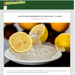 How to Make Lemonade With Lemon Juice - A Guide - All That Juice