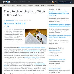 The e-book lending wars: When authors attack