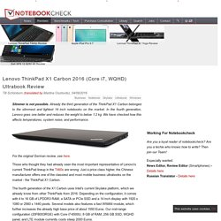 Lenovo ThinkPad X1 Carbon 2016 (Core i7, WQHD) Ultrabook Review