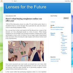 Lenses for the Future: Here's what buying sunglasses online can offer you!