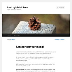 Lenteur serveur mysql
