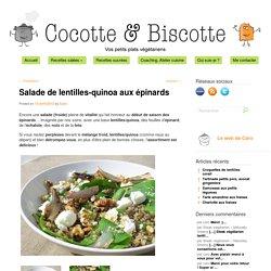 Salade de lentilles-quinoa aux épinards
