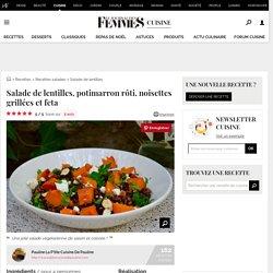 Recette de Salade de lentilles, potimarron rôti, noisettes grillées et feta