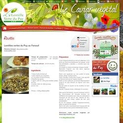 Lentilles vertes du Puy au Fenouil - Recettes - Site officiel de la Lentille verte du Puy