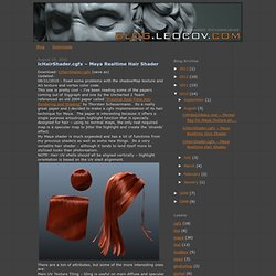 blog.leocov.com: lcHairShader.cgfx – Maya Realtime Hair Shader