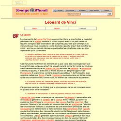 Léonard de Vinci : le savant.