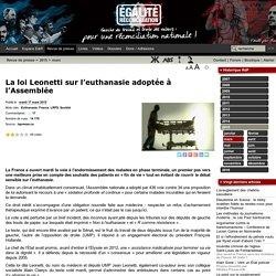 La loi Leonetti sur l'euthanasie adoptée à l'Assemblée