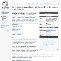 Loi Leonetti du 22 avril 2005 relative aux droits des malades et à la fin de vie