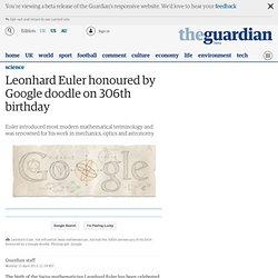 Leonhard Euler honoured by Google doodle