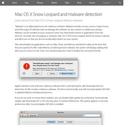Mac OS X Snow Leopard and malware detection - Apple Support