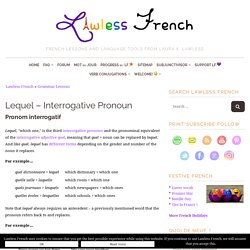 Lequel - French Interrogative Pronoun