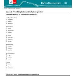 Online-Lernkomponente DaF im Unternehmen Fragebogen