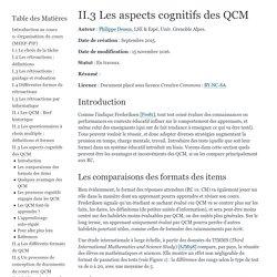 II.3 Les aspects cognitifs des QCM — Cours QCM