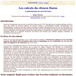 Les calculs du citoyen Haros