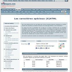 Les caractères spéciaux (X)HTML