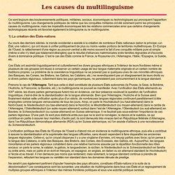 Les causes du multilinguisme