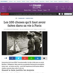 Les 100 choses qu'il faut avoir faites dans sa vie à Paris