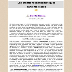 Les créations mathématiques dans ma classe