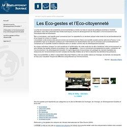 Les Eco-gestes et l'Eco-citoyenneté