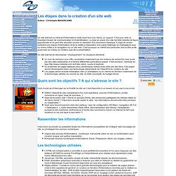 Les étapes dans la création d'un site web