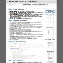 Les 10 étapes d'un travail de recherche