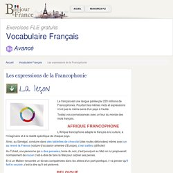 Les expressions de la Francophonie