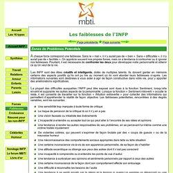 Les Faiblesses des INFP