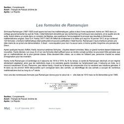 Les formules de Ramanujan