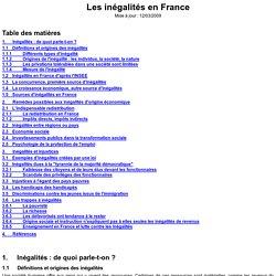 Les inégalités en France