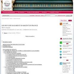 LES JEUX DE HASARD ET D'ARGENT EN FRANCE