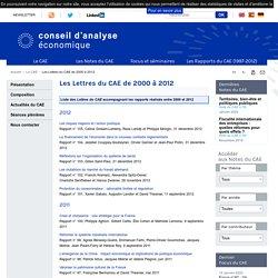 Les Lettres du CAE de 2000 à 2012 - Accueil