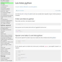 Apprendre à utiliser des listes en python : list array tableaux en python