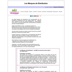 Les MDD : Marques De Distribution